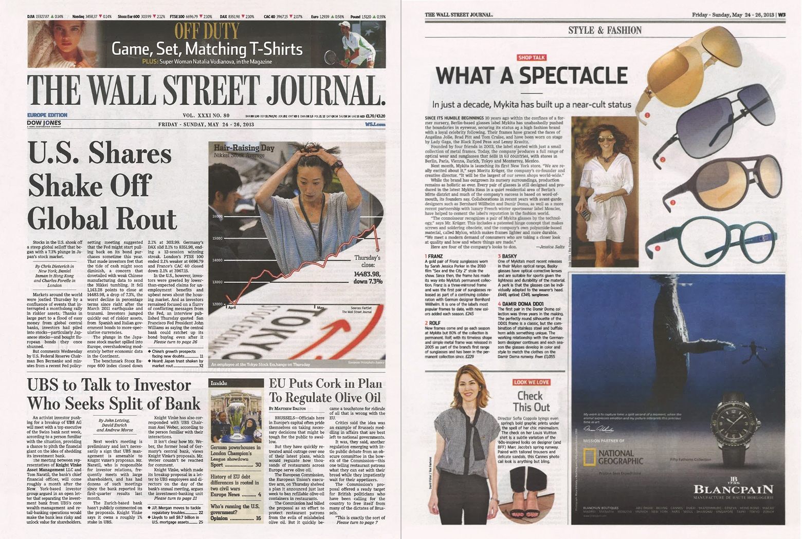 MYKITA Clipping Thewallstreetjournal Europe