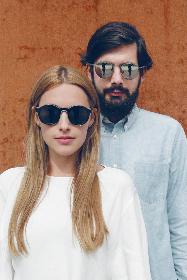 A stylish couple seen in Berlin's Mitte district wearing the new MYKITA + Maison Martin Margiela sunglasses.