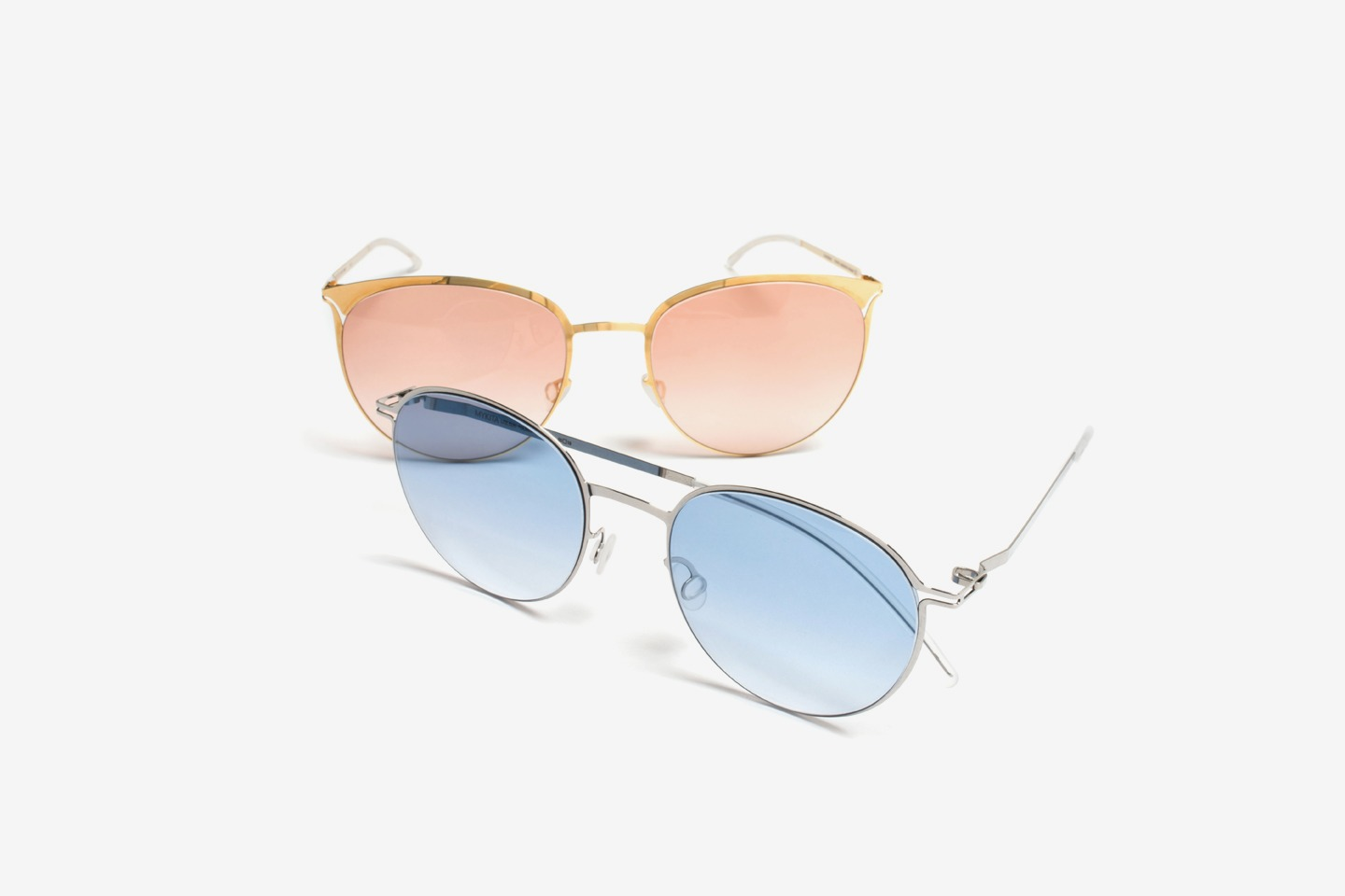 A first look at OLSEN and LINNEA, two models from LITE SUN, MYKITA's ultra-light, stainless steel sunglasses range.