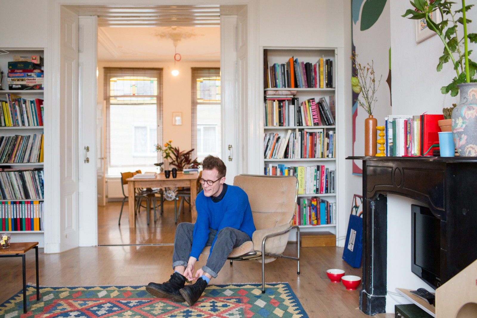 MYKITA FIRST's illustrator Jordy van den Nieuwendijk at his home in The Hague.