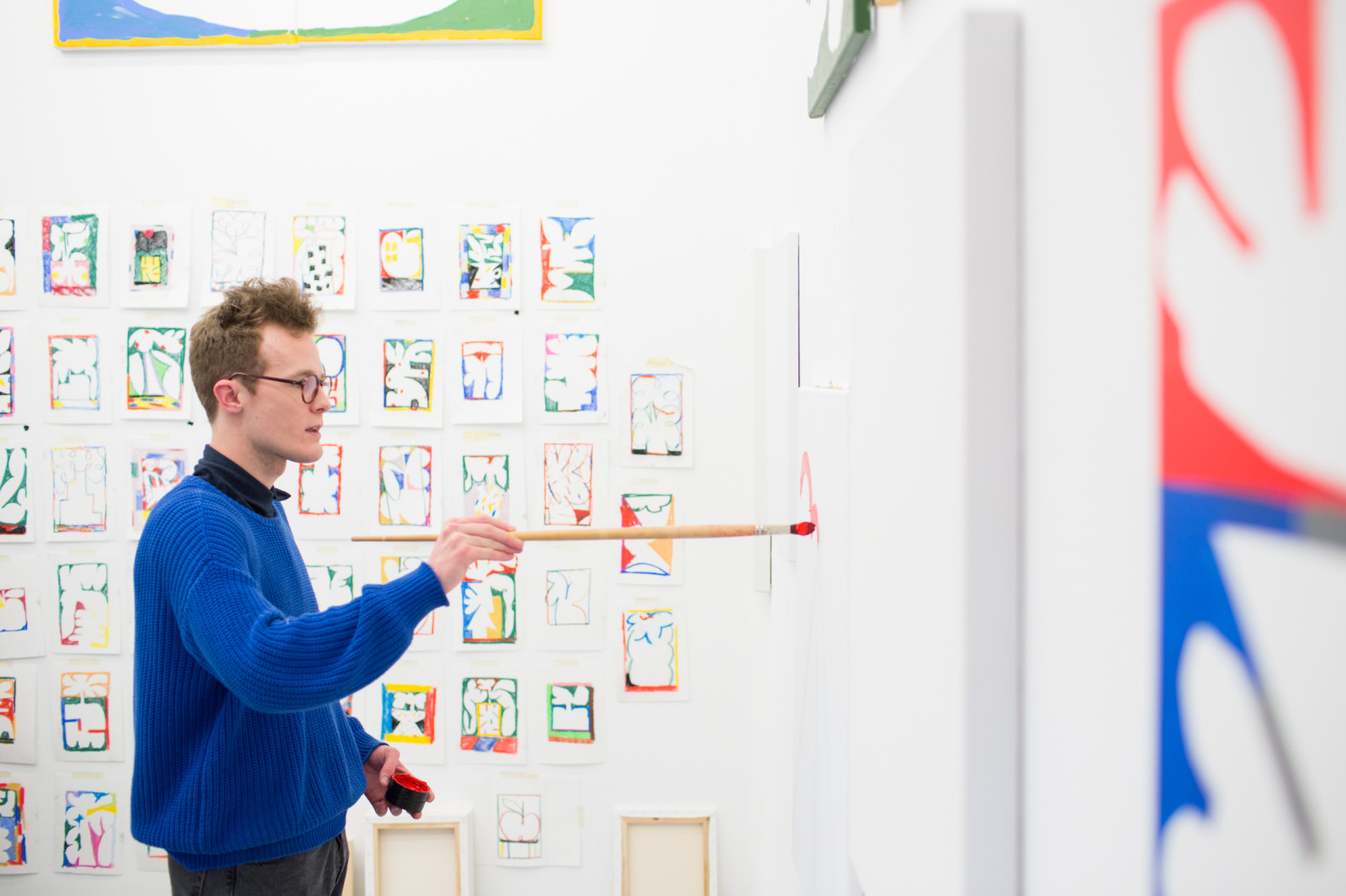 MYKITA FIRST's illustrator Jordy van den Nieuwendijk at his studio in The Hague.
