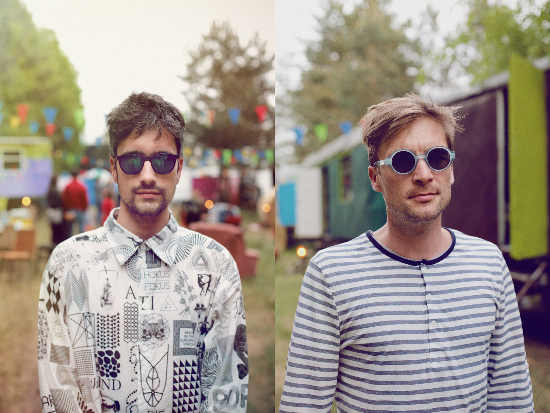 Berlin-based electronic band the/das wearing MYKITA sunglasses before their concert at the Immergut Festival