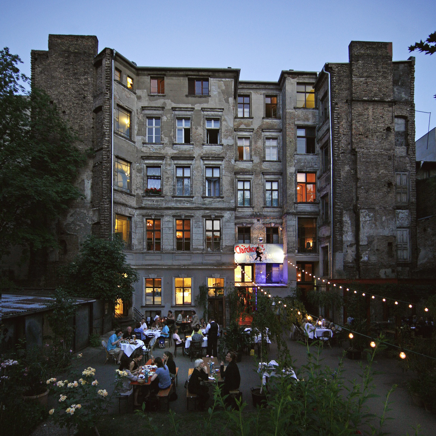 The idillyc garden at Clärchen's Ballhaus, one of MYKITA's recommended places to go dancing