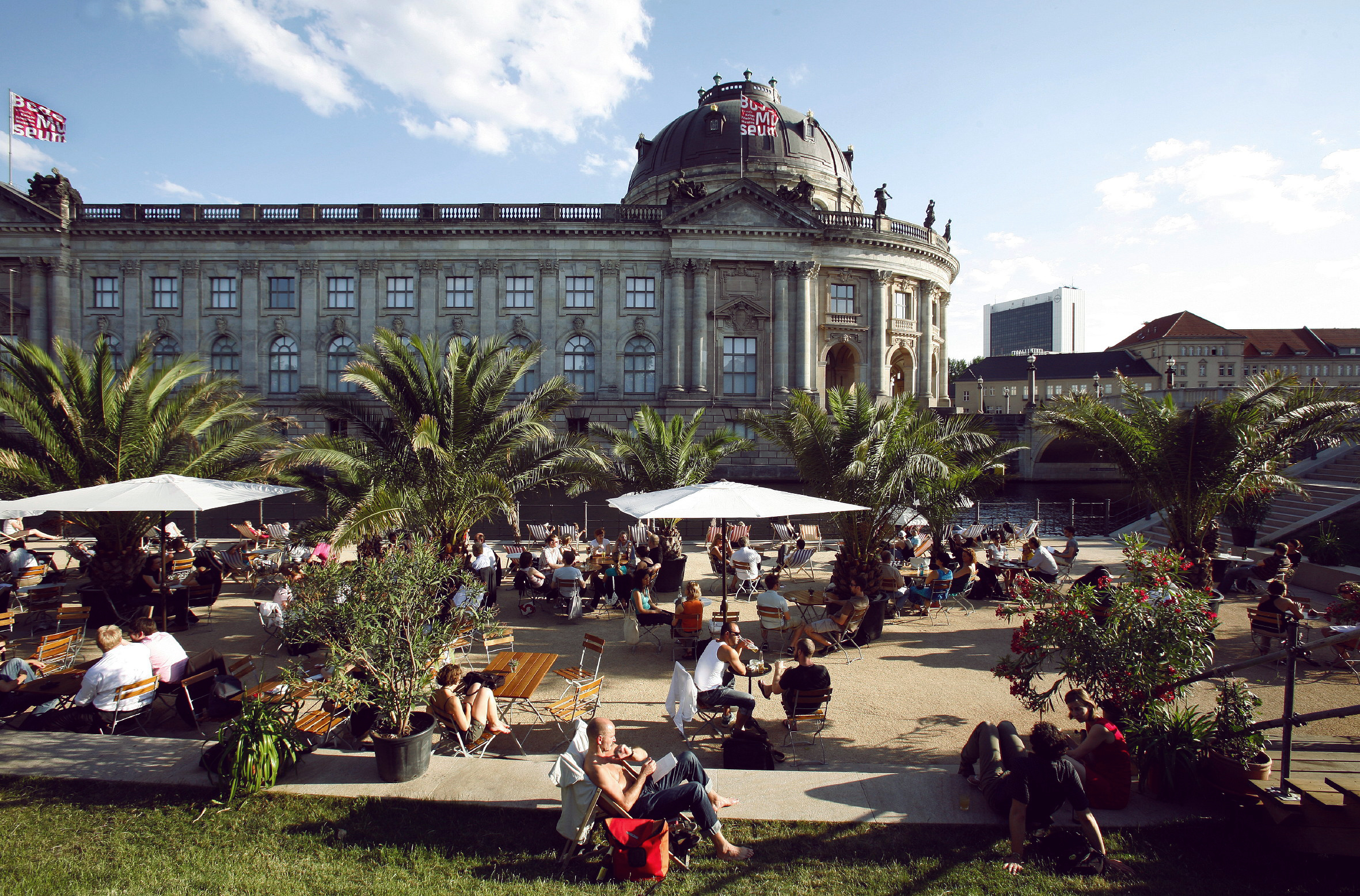 The outdoor dancefloor at Strandbar Mitte, one of MYKITA's favourite places to dance in Berlin