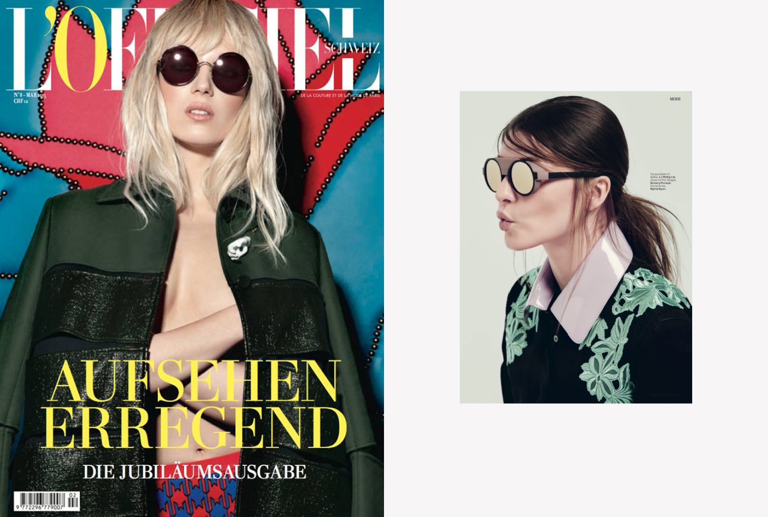MYKITA MYLON SUN sunglasses MALLORY featured in L'OFFICIEL Switzerland