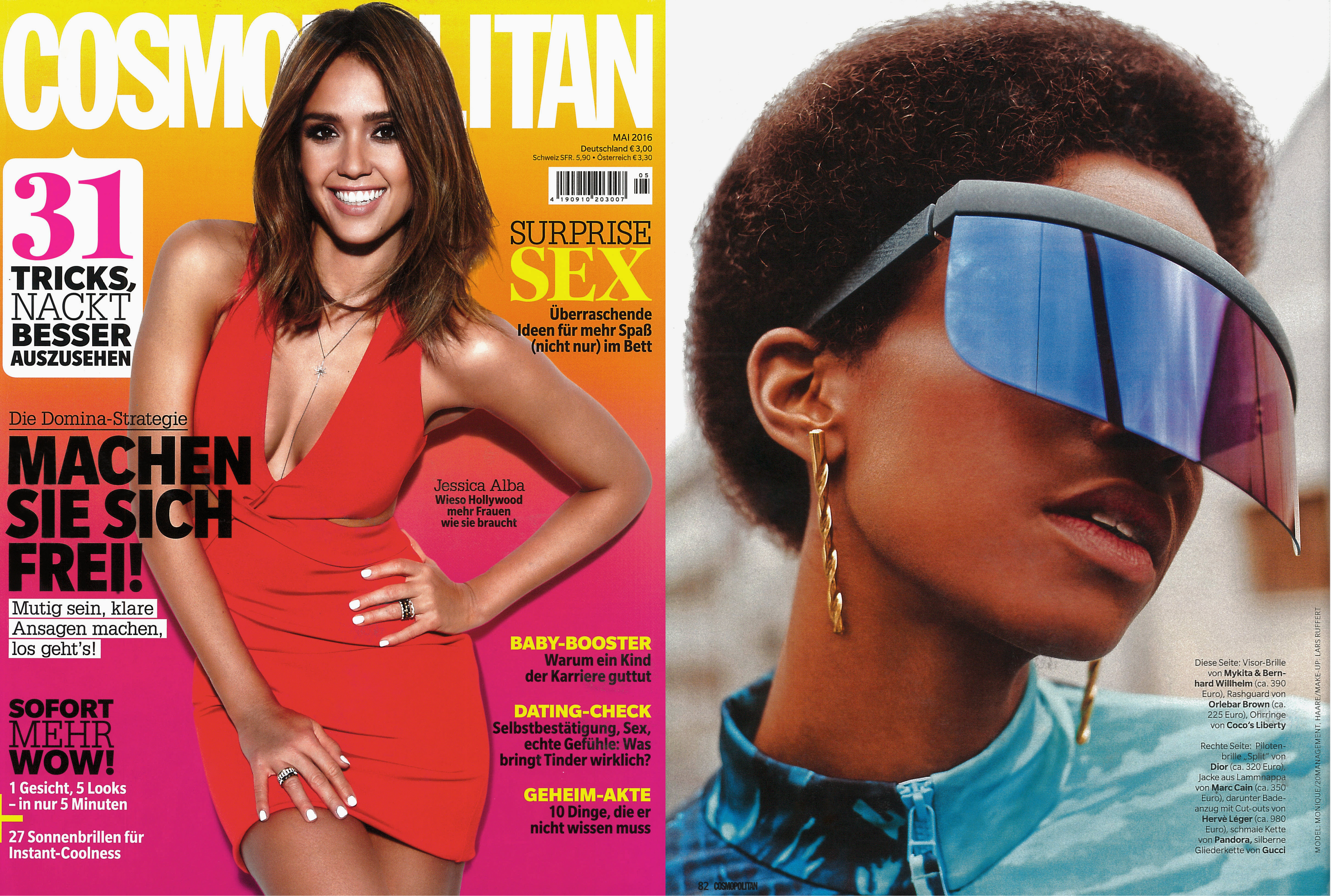 MYKITA & BERNHARD WILLHELM sunglasses DAISUKÉ featured in Cosmopolitan Germany