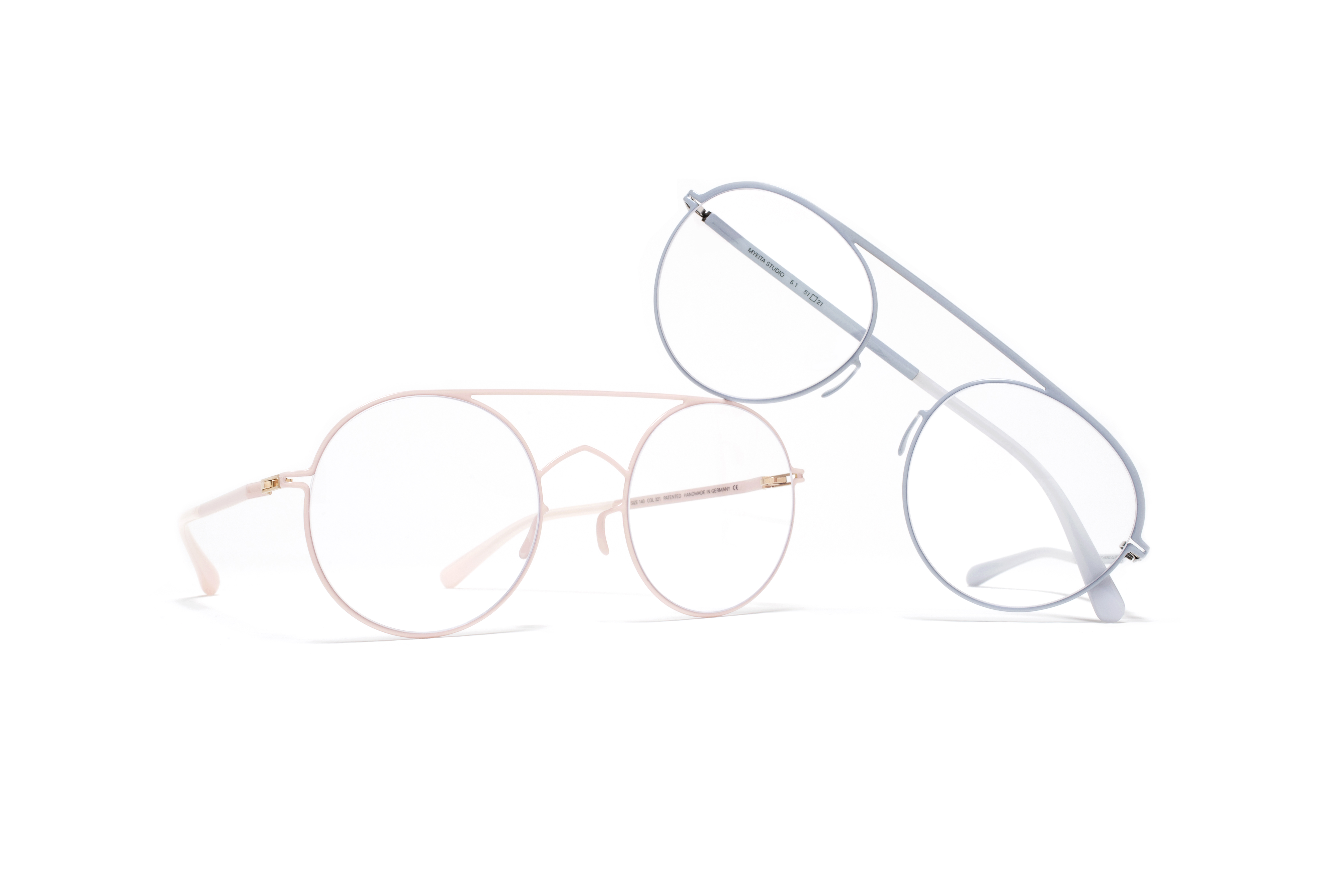 MYKITA Studio Rx Studio Pow5 Pale Blue Clear Studio Pow4 Rose Clear Gs