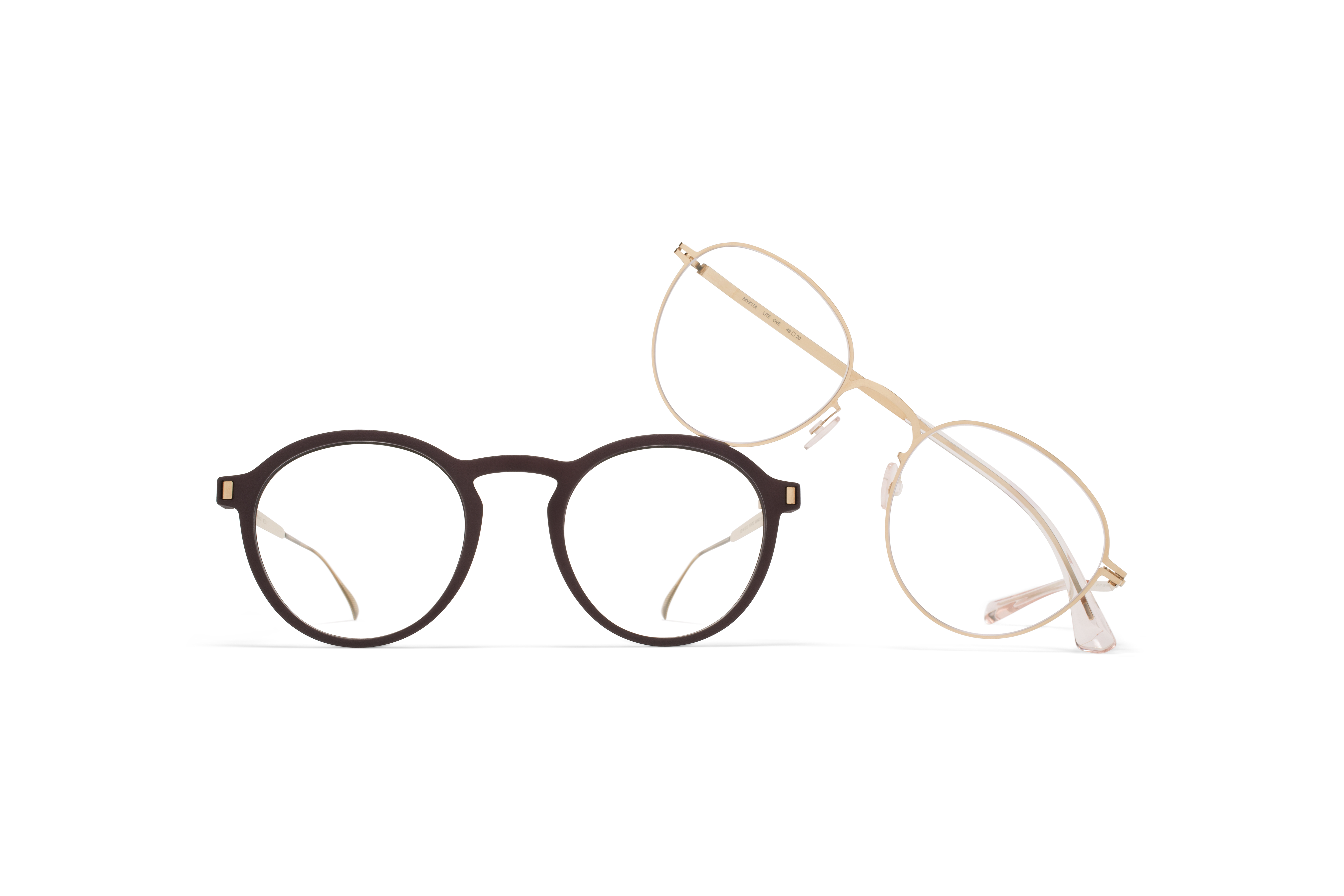 MYKITA Mylon Hybrid Rx Acai Mh8 Ebony Brown Champagne Gold Clear MYKITA Lite Acetate Rx Ove Champagne Gold Clear Ch