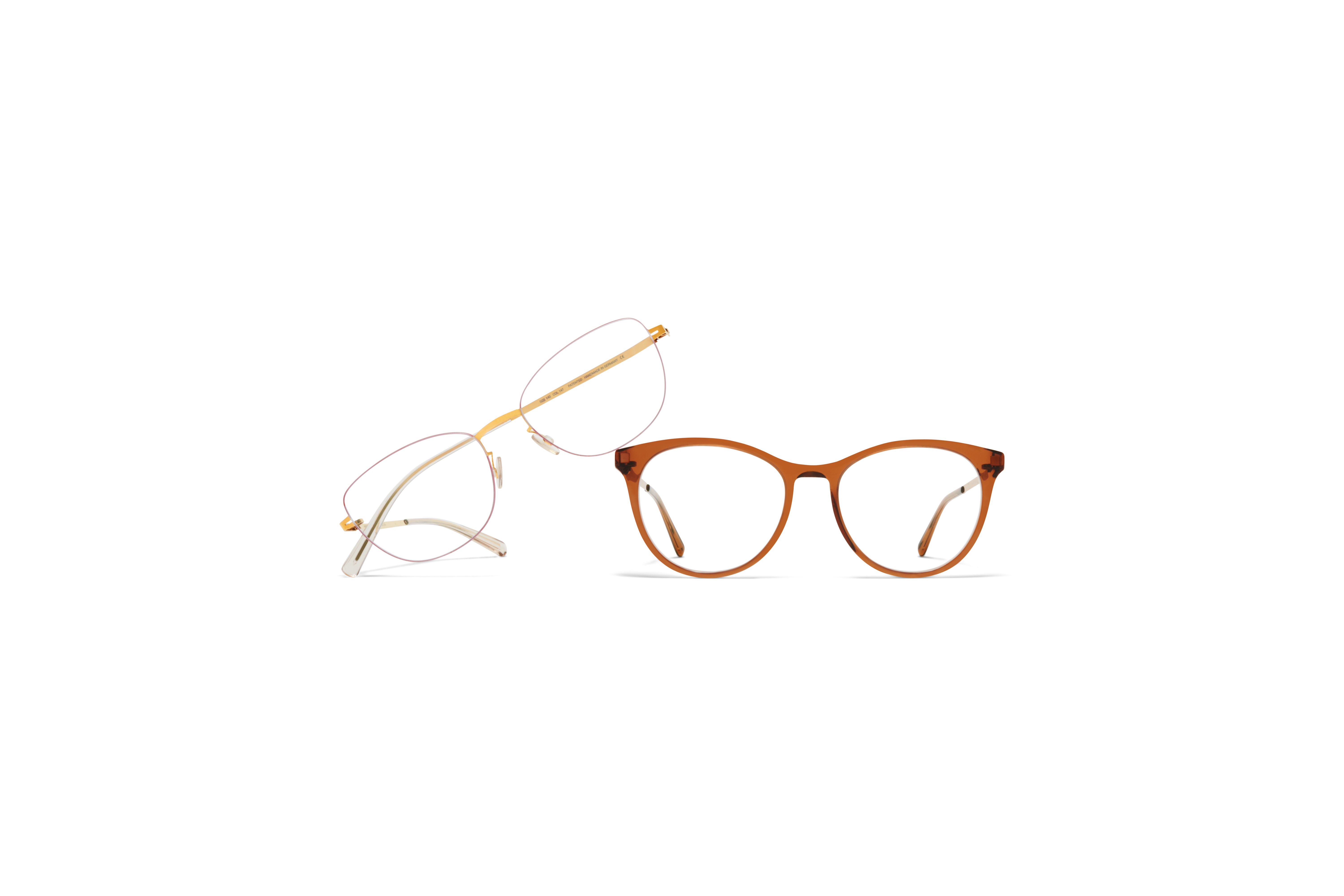 Butterfly Rx MYKITA Lite Acetate Rx Livli C73 Topaz Shiny Copper Clear MYKITA Less Rim Rx Minako Gold Coral Red Clear