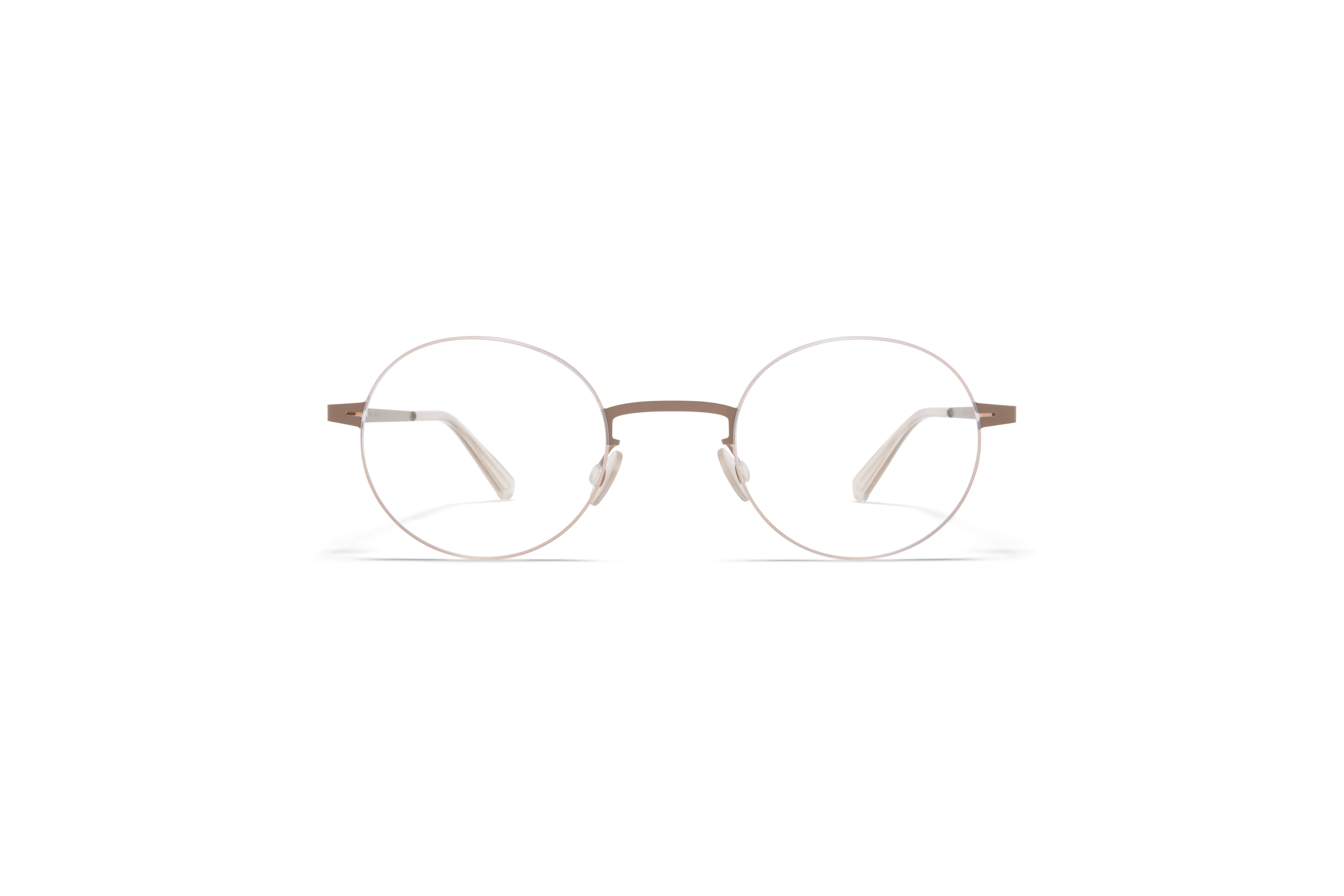 MYKITA Lessrim Rx Sho Champagne Gold Taupe Grey Clear