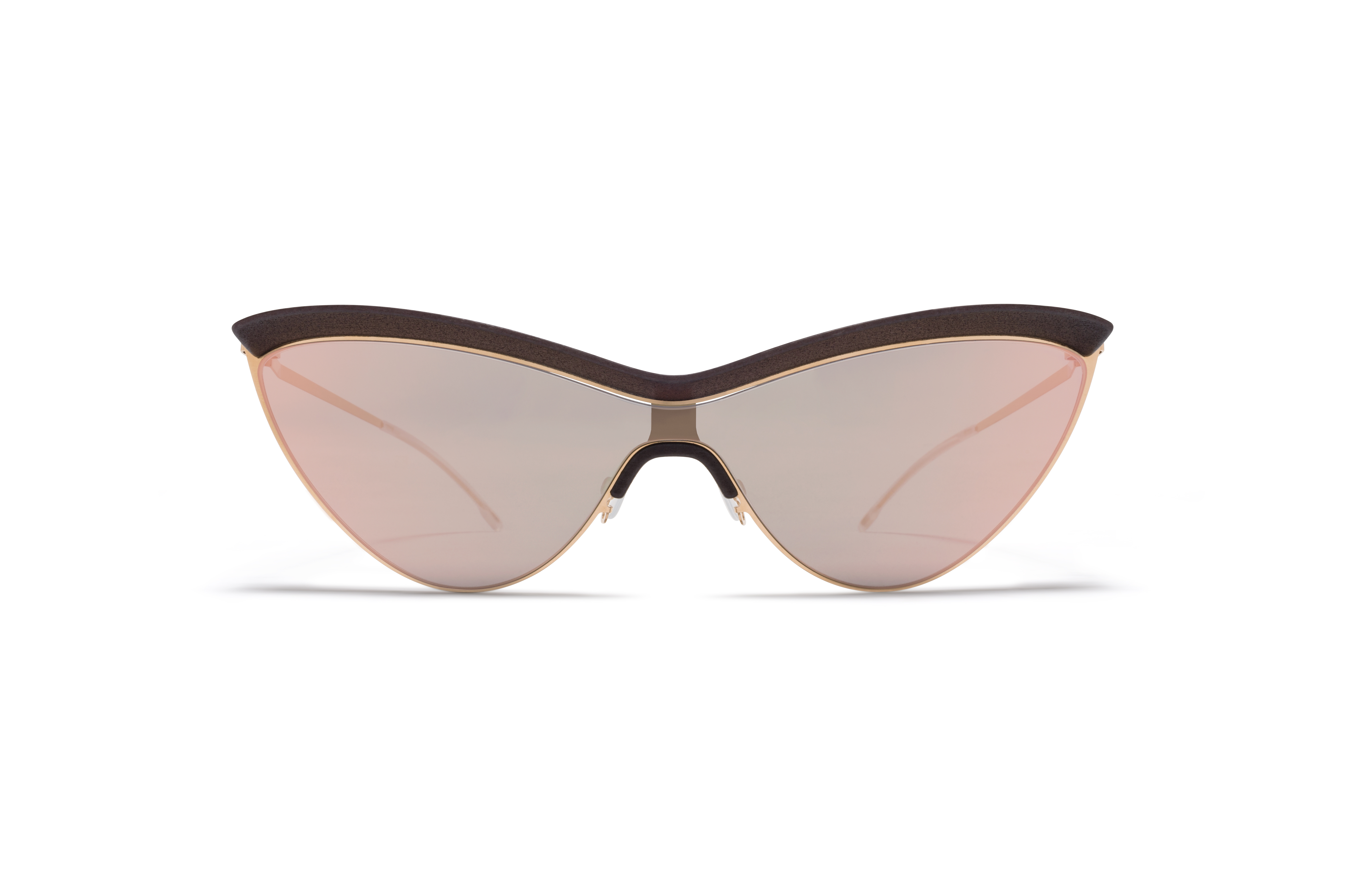 MYKITA Mm Sun Mmecho002 Mh8 Ebony Brown Glossy Gold Champagne Gold Shield